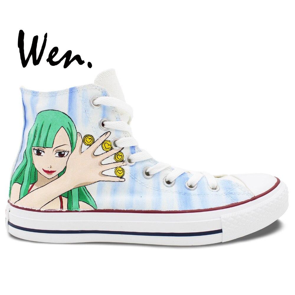 Wen Dipinte A Mano Scarpe Da Tennis di Disegno Personalizzato Anime Vocaloid E Fairy tail High Top Bianco delle Scarpe di Tela per le Donne Degli Uomini regali di compleannoWen Dipinte A Mano Scarpe Da Tennis di Disegno Personalizzato Anime Vocaloid E Fairy tail High Top Bianco delle Scarpe di Tela per le Donne Degli Uomini regali di compleanno