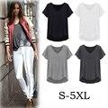 De alta calidad de Solid Mujeres de La Camiseta de Algodón Con Cuello En V Tops Femeninos verano Más Tamaño Camiseta Femme T Camiseta Mujer 4XL 5XL