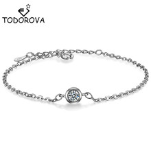 Todorova Fashion Round Cubic Zircon Crystal Chain Link Bracelets & Bangles for Women Gift Charm Bracelet Jewelry Accessories