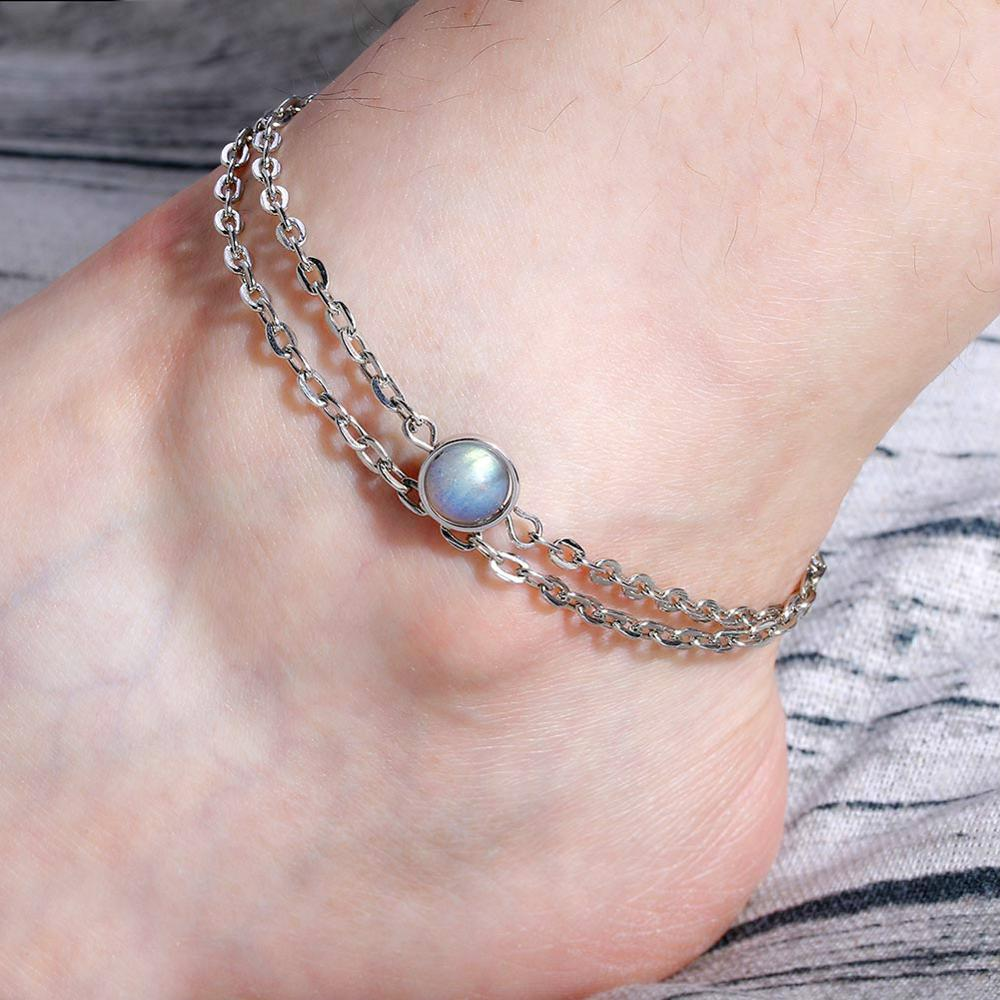 Natural Labradorite Stone Anklets Foot Chain Charm Foot Jewelry Silver Color Unique Handmade