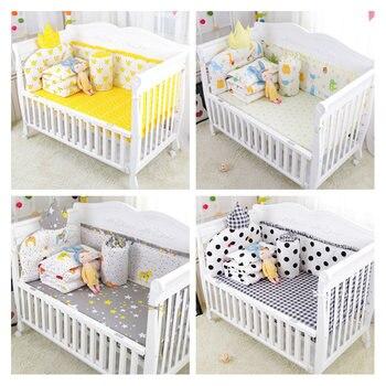 6pcs Cartoon Cotton Baby Crib Bumpers Bedding Cartoon Baby Bedding Sets Bed Safety Baby Fence Bed Sheet Thickening Babies Bumper