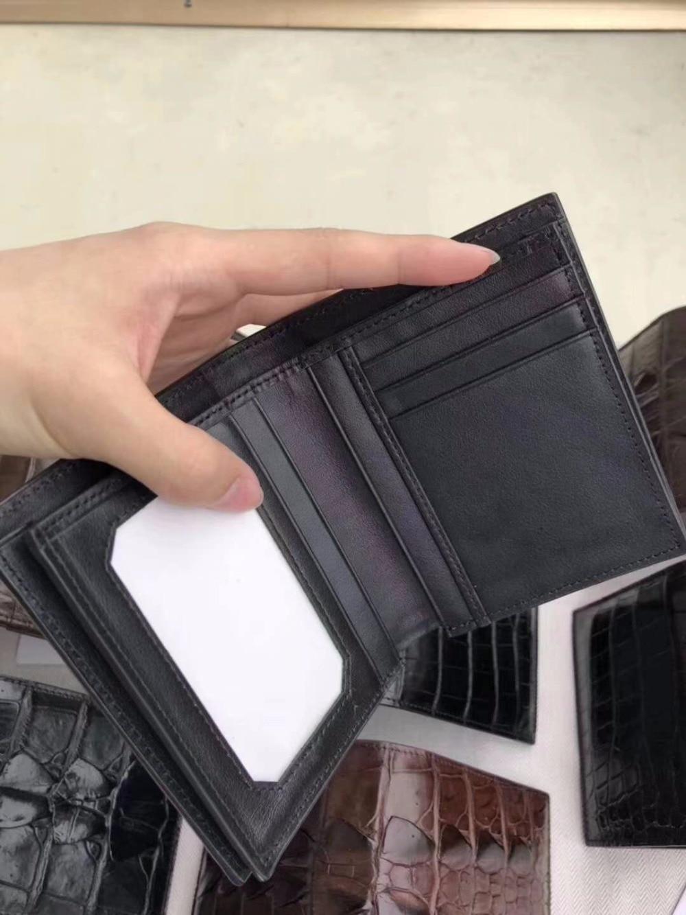 цена на 100% genuine real crocodile skin men wallets purse black brown color bank credit card holrder crocodile belly tail head skins