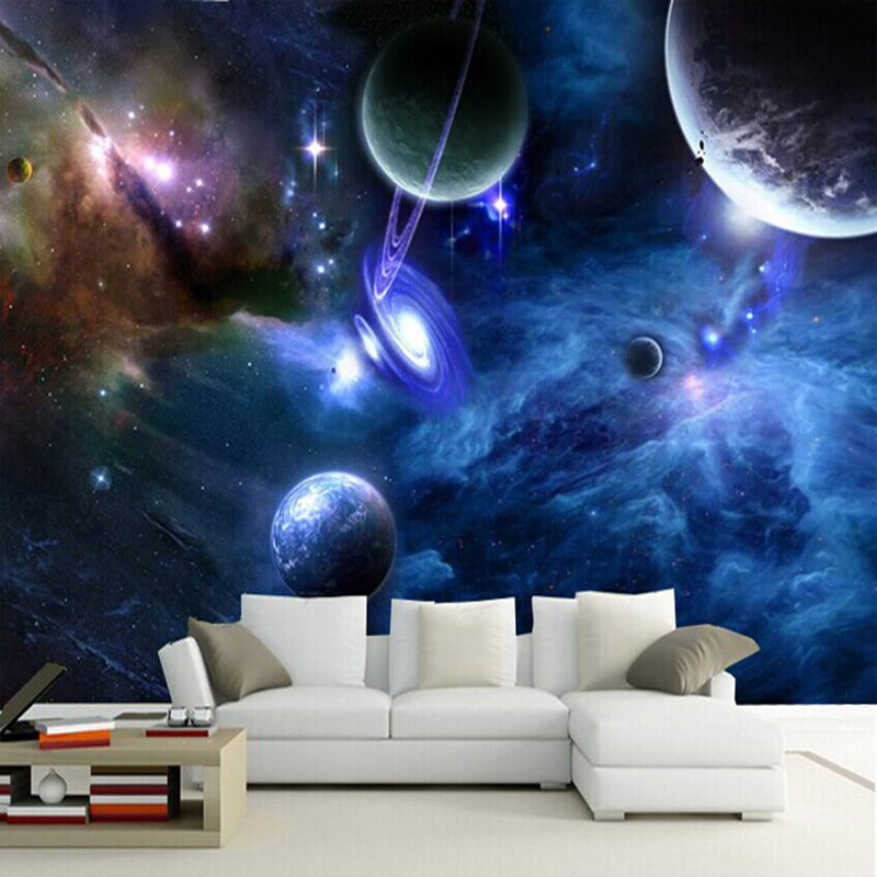 Custom 3D Murals Galaxy Fluorescent Photo Wallpapers Moisture Home Decor Wall Paper Roll Living Room Bedroom Wallpaper Landscape custom wall papers home decor flamingo sea 3d wallpaper murals tv background kitchen study bedroom living room 3d wall murals