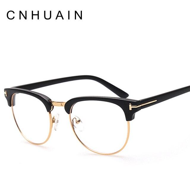 CNHUAIN Merek Kelas Atas Kacamata Bingkai Pria Wanita Retro Batal Lens  Setengah rim Optik Frame Kacamata 777ffe78ff