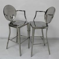 Коммерческая мебель из нержавеющей стали 4 ножки, обеденный стул барный стул высокий табурет со спинкой