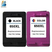 Bosumon remanufactured tintenpatrone für hp 650 xl kompatibel mit officejet1015/1515/2515/2545/2645/3515/4645 drucker (ein satz)