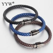 2019 New Trendy Leather Men Bracelets Titanium Bracelet For Women Jewelry Gift Steel Clasp 3 Colors Handmade Braided