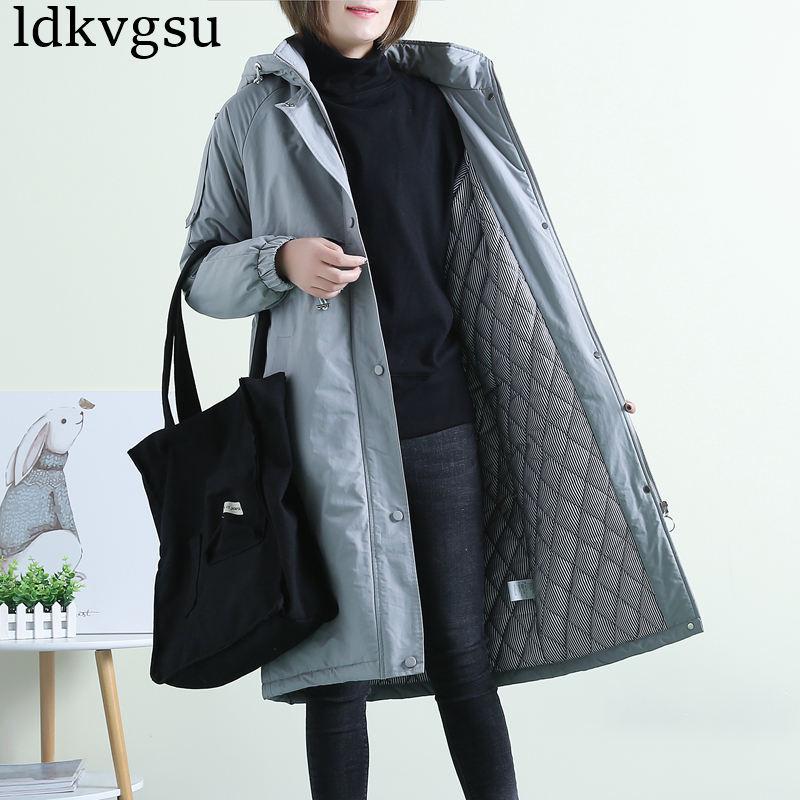 2019 New Winter Windbreaker Outerwear Female casual Hooded Parkas Coats Women's Autumn Winter Jackets Plus Size Clothing V176