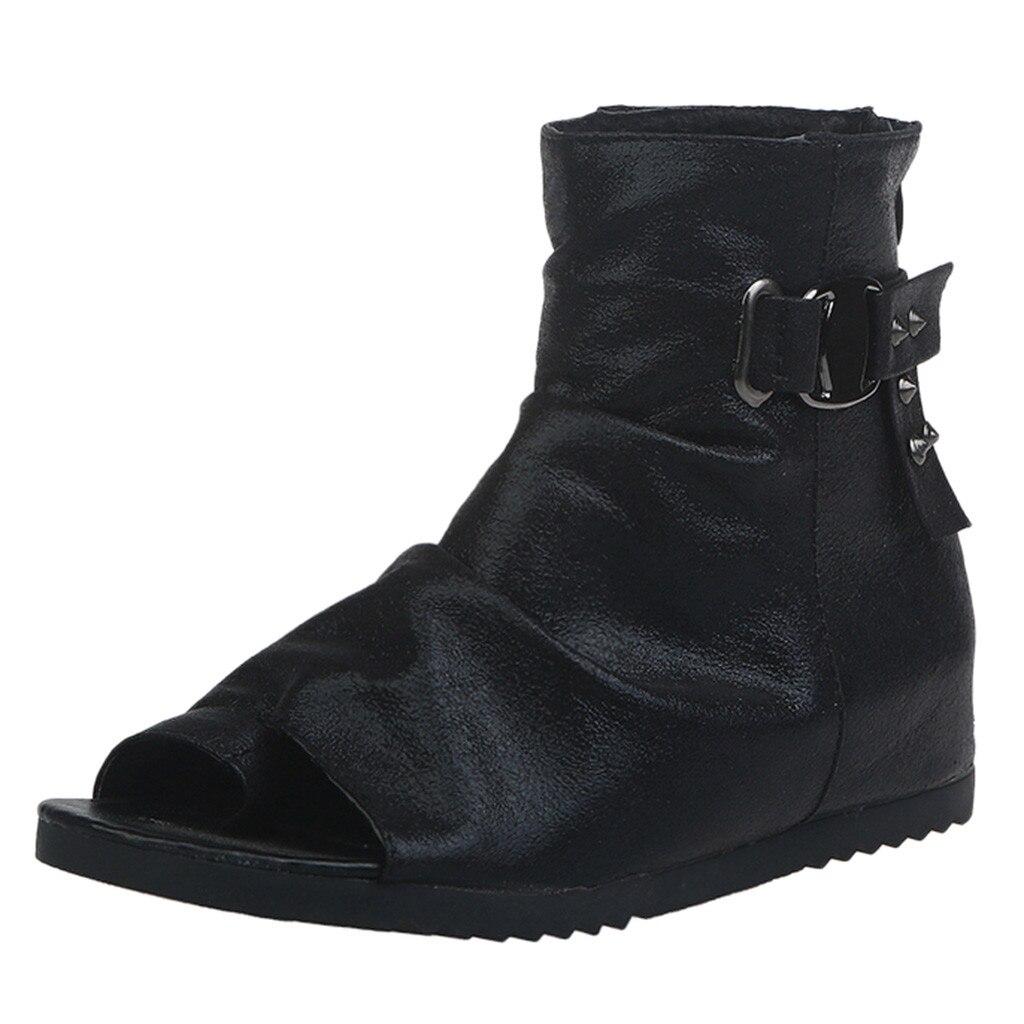 Moda Mujeres Casuales Plataforma Hebilla Negro Boca Zapatos Mujer XuiZOPk