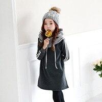 MAGGIE S WALKER Winter Girls Hooded Dresses Children Warm Cashmere Outfits Children Leisure Sports Clothes Kid