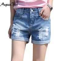 2017 sommer frauen Lose Shorts Washed Light Blue Cuffs Denim breite Bein Kurze Hosen Boyfriend-Jeans Femme Für Heiße Frauen Jeans
