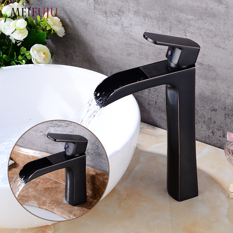 MEIFUJU Bathroom Basin Faucet Waterfall Basin Faucets Black Mixer Basin Taps Chrome Brass Single Handle Mixer Tap Hot And Cold bathroom basin faucets modern chrome finished bathroom faucet single hole cold and hot water tap basin faucet mixer taps
