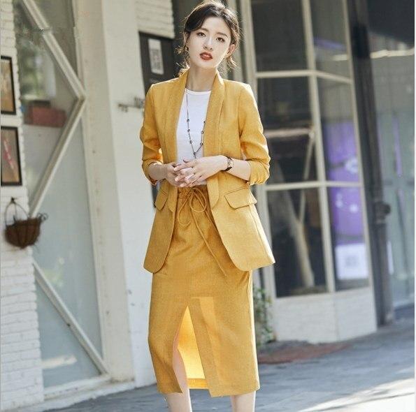 2019 Frühling Herbst Lange Rock Anzug Für Frauen Solide Gelb Khaki Grau Röcke Anzüge Sommer Hülse Mit Drei Vierteln Blazer Und Rock