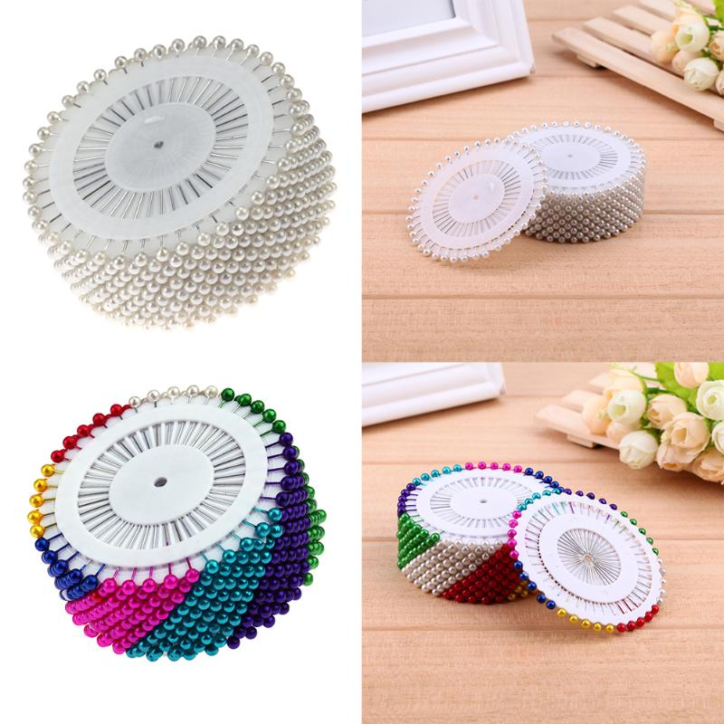 480pcs 1.5inch White/Colorful Dressmaking Straight Pins Round Head Color Faux Pearl Corsage Sewing Pin Accessory