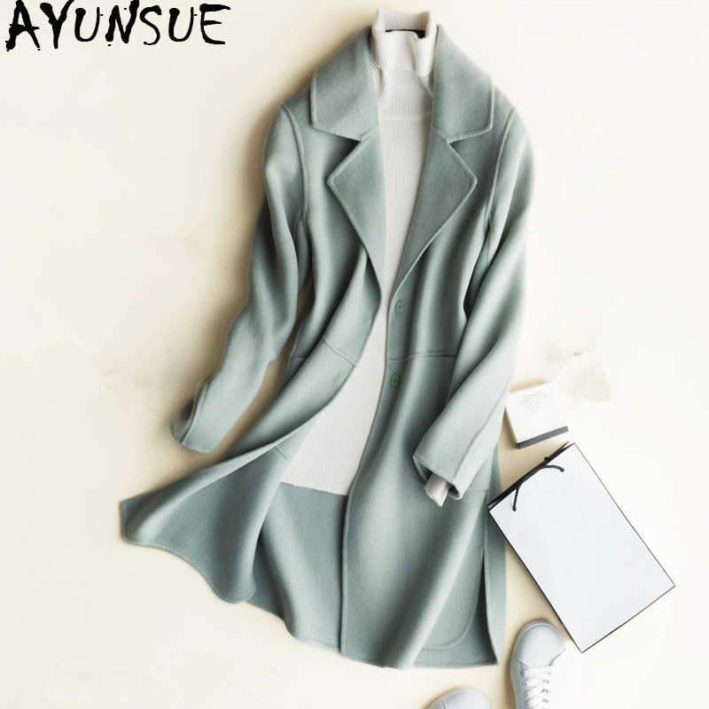 AYUNSUE 2019 Korean 100% Wool Coat Female Spring Double-sided Cashmere Jacket Women Outerwear Winter Coats Woman abrigos CS1666