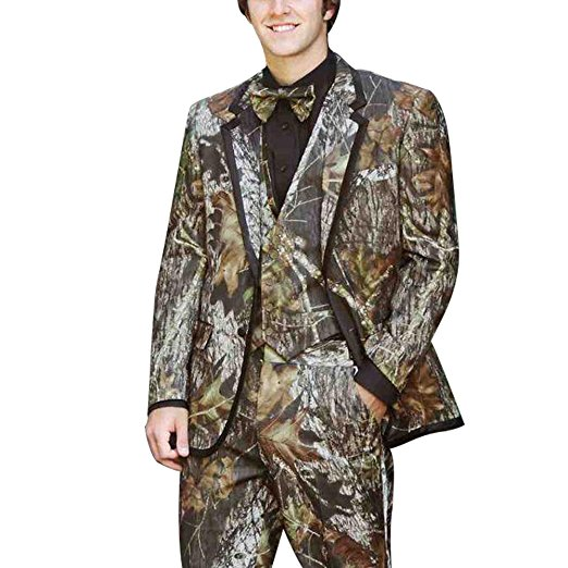 Custom Made Groomsmen Camo Groom Tuxedos Shawl Notch Lapel Men Suits Wedding Best Man Blazer ( Jacket+Pants+Vest +Bow Tie) C313