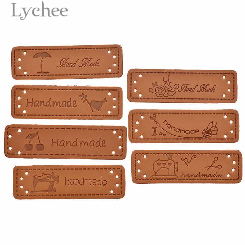 Lychee 50pcs Handmade PU Leather Tags Bird Sewing Machine Pattern Embossed Label DIY Flag Labels For Garment Sewing Accessories