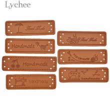 Lychee Life 50pcs Handmade PU Leather Tags Bird Sewing Machine Embossed Label DIY Flag Labels For Garment Sewing Accessories