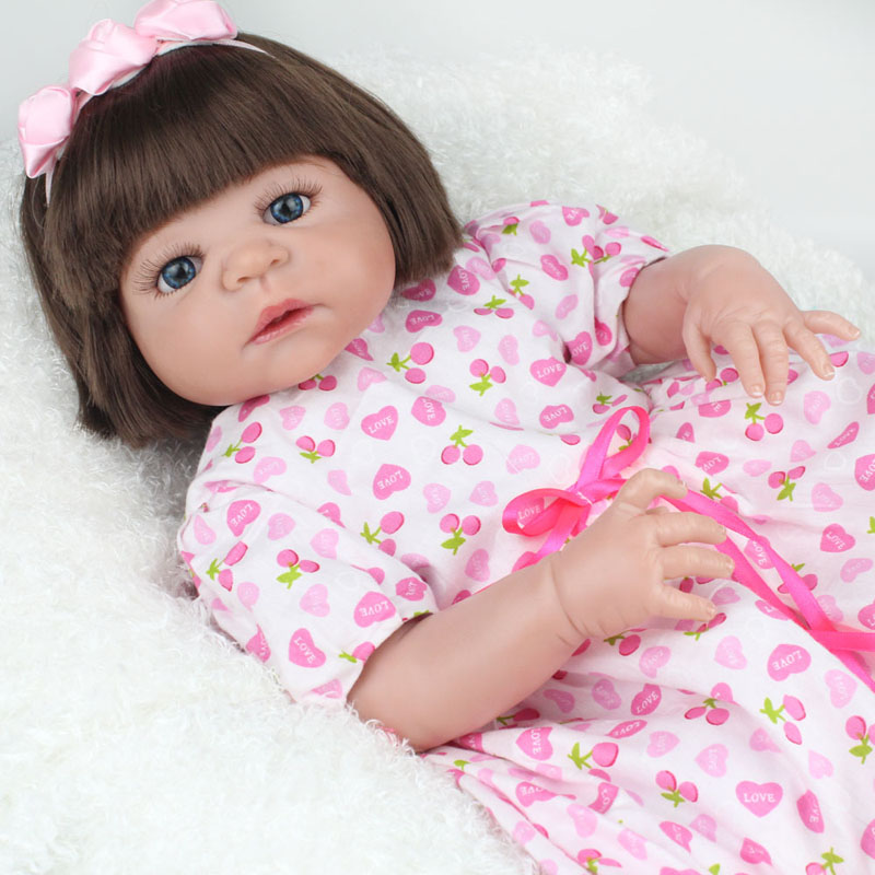 55cm Full Body Silicone Reborn Baby Dolls for Girls Soft Vinyl Bebe Reborn Doll Fashion Girls Toys Kids Christmas Birthday Gift reborn baby girls doll princess birthday christmas gift 18inch 42cm soft silicone vinyl cloth body adorable cute likelife toys
