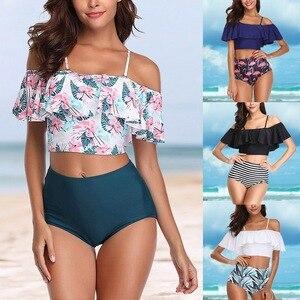 2020 Brand Ruffle Swimsuit Sexy Biquinis Women Swimwear Floral Printed Vintage Striped Bottom Halter Bikini Set Bathing Suit