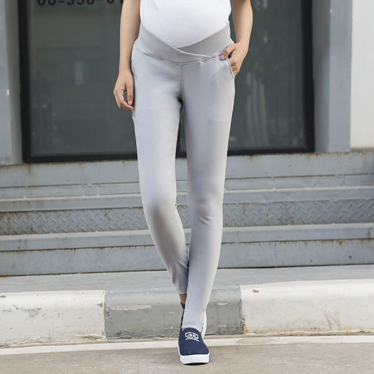 9cb55f09ae3a0 Solid Color Low Waist Maternity Pants Spring Casual Slim Clothes for  Pregnant Women Plus Size Pregnancy Trousers M XXL-in Pants   Capris from  Mother   Kids ...