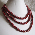 "Free shipping@@@@@ 50"" 6-8mm Reddish Purple Freshwater Pearl Necklace 6T5R6T4Y a"