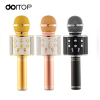 DOITOP Wireless Microphone Magic Karaoke Microphone For Smart Phone PC WS858 MIC BT Speaker Record Music Microfone Player