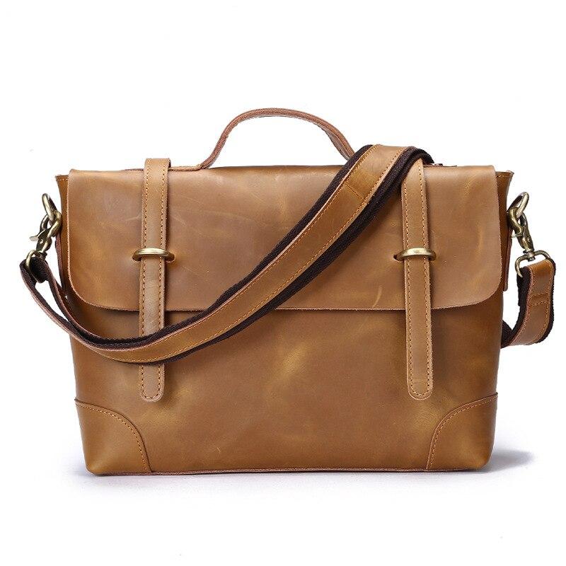 Brand New Men's Bag Genuine Leather Shoulder Bags for Men Vintage Briefcase Bag Soft Cowhide Messenger Bags Tourist Portfolion