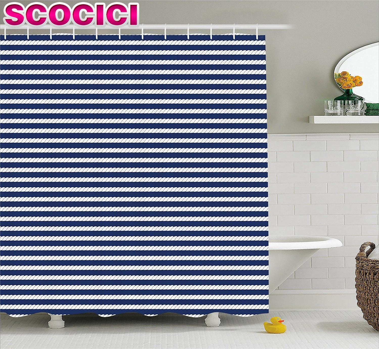 Marineblau dekor duschvorhang yacht navy themen seil streifen muster auf dunkelblauem hintergrund stoff badezimmer dekor set