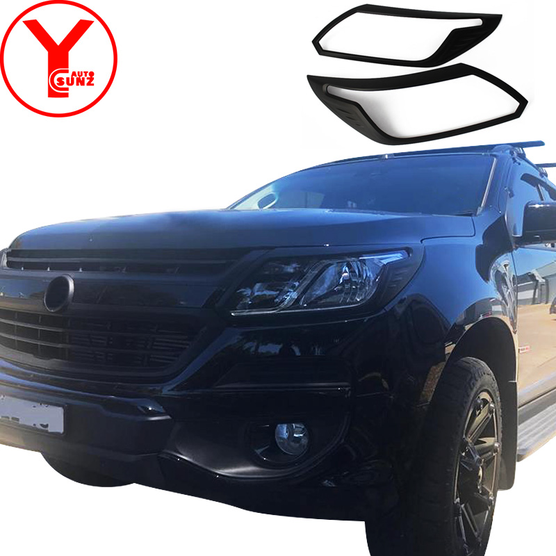 Head Lamp Light Cover Black Trim Fit Chevrolet Chevy Holden Colorado 2017-2018