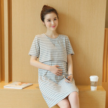 Maternity Lactation Clothes 2016 Summer New Round Neck Short-sleeved Striped Dress for Pregnant Women