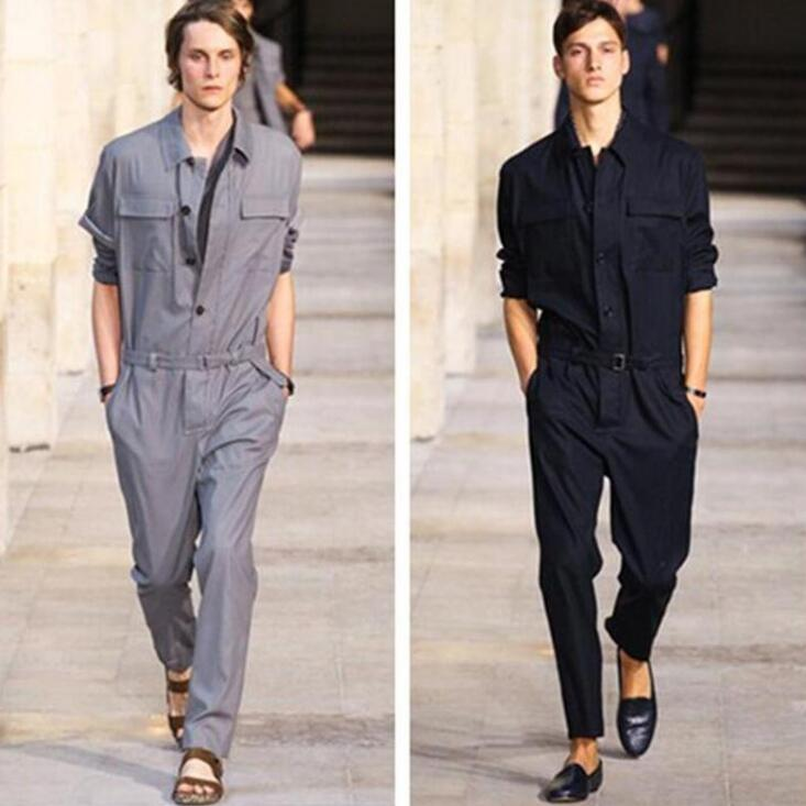 Hot Mens Overalls Sleeve Work Casual Short Jumpsuit Coveralls Black Zipper Pants
