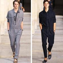 Jumpsuit Men Rompers One Piece Overalls Cotton Mens Runway Designer Long Sleeve Casual Fashion Male Set Outfit Clothes Jumpsuits punk style men loose overalls jumpsuit mens one piece jumpsuit hip hop suspender pants male casual overall big pockets rompers