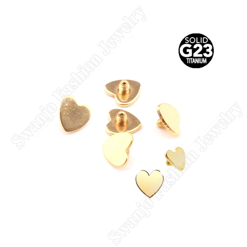 G23 Titanium Heart Shaped Gold Plated Dermal Tops free shipping