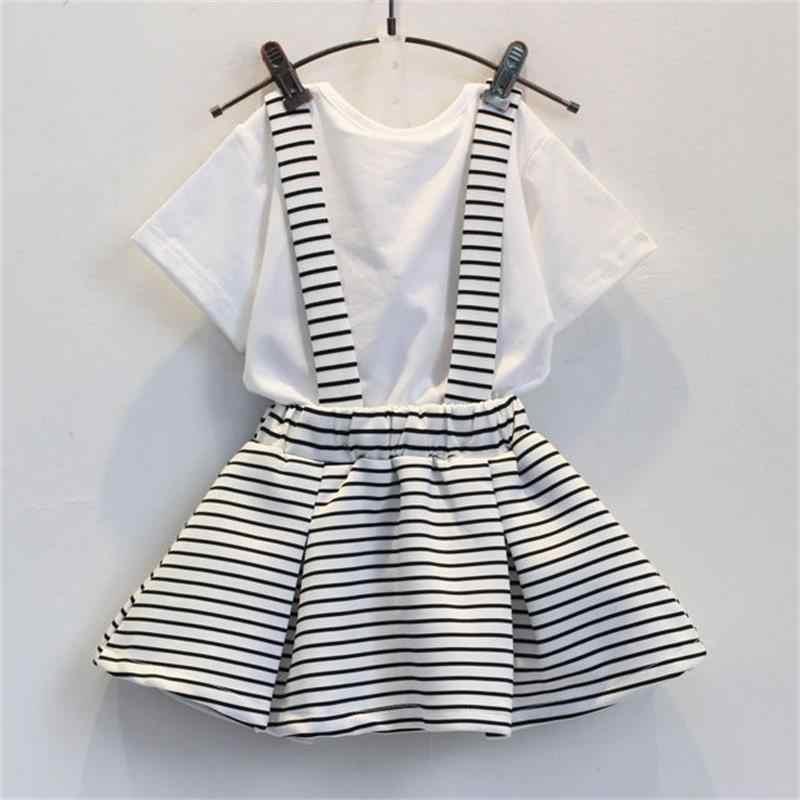 Conjunto de ropa con estampado de arco para niñas y niños de verano + falda de tirantes lindo traje coreano para niños traje de 2 piezas trajes de la ropa de los niños
