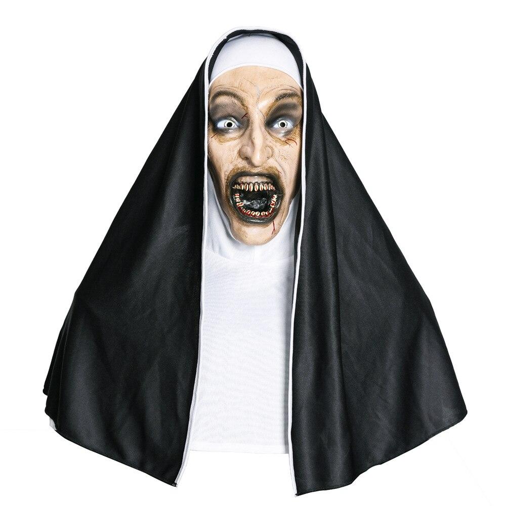 Cosplay Movie The Conjuring 2 The Nun Latex Mask Turban Mask Headgear Devil Sister Horror Ghost Halloween Mask Headgear