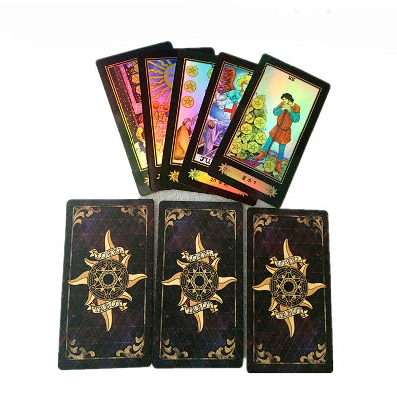 Holographique Tarot Conseil Jeu 78 pcs/ensemble Briller Waite Tarot Cartes Jeu Chinois/Anglais Édition Tarot Jeu de Société Pour La Famille /amis