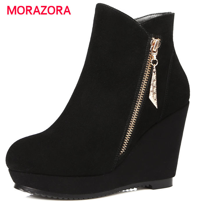 MORAZORA 2018 new fashion super high heel women boots autumn winter round toe ankle boots zipper platform wedges boots