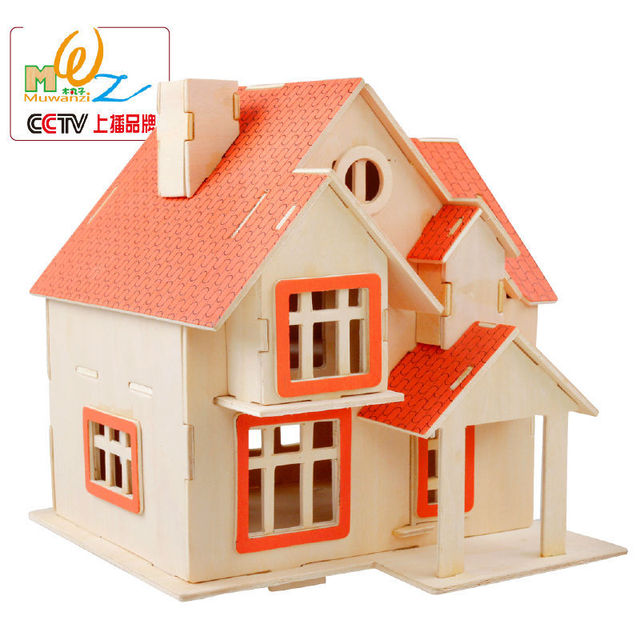 Free Shipping Warm Home Garden Villa 3d Wooden Puzzle Wood House