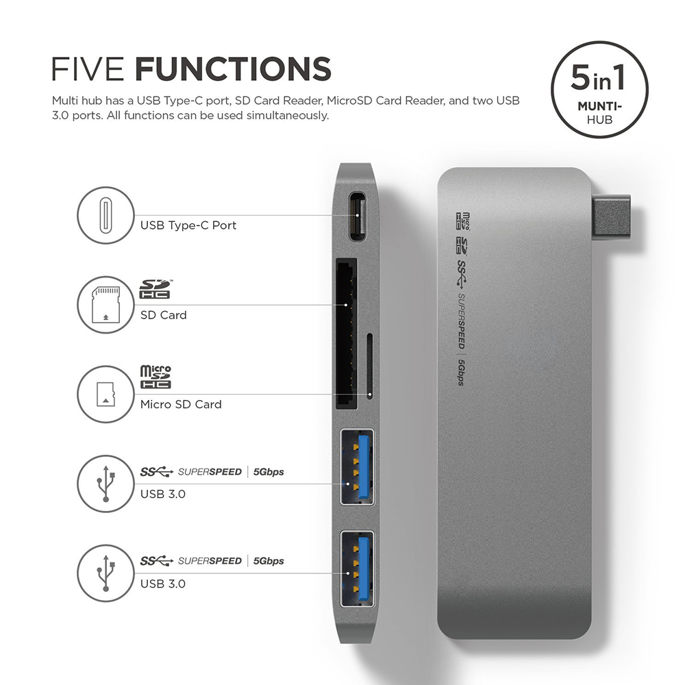 Enjowi USB C Hub,High-speed Type-C Hub with Power Delivery 2 superspeed USB 3.0 ports,2 SD memory port card reader, for MacBook 668 usb 3 1 type c card reader