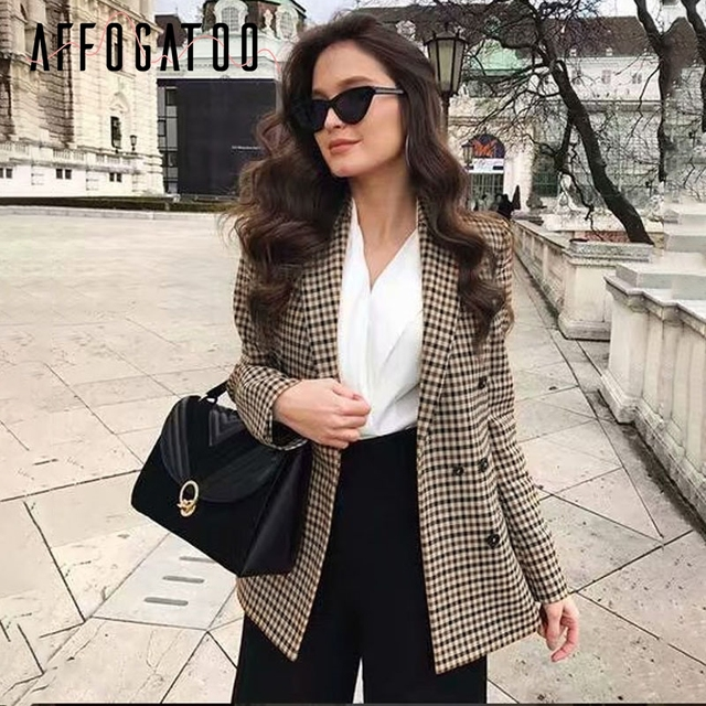 Affogatoo Fashion double breasted plaid blazer women Long sleeve slim OL blazer 2018 Casual autumn jacket blazer female 1