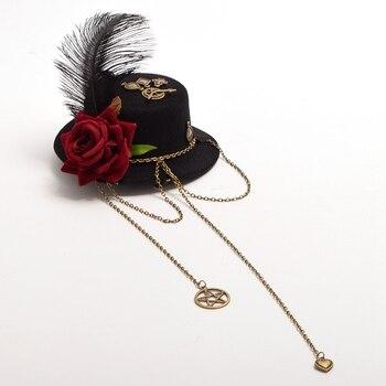 Шляпка готическая лолита крест с розой 1