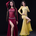 Newest Lace long-sleeve Irregular placketing Skirt Sexy Belly dance 2pcs set for women/female, Trendy costume performance wear