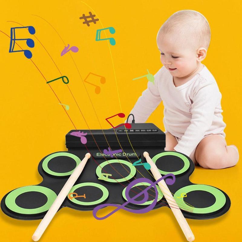 Enfants Silicone rouler tambour électronique enfants Portable Instruments de Percussion musicale jouet musique apprentissage tambour pédale de tambour