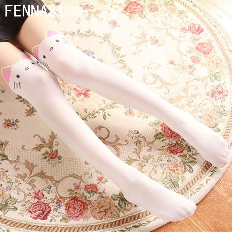 d87c5e746cf FENNASI Lolita Women s Tights Cute Cat White Pantyhose Print Kawaii  Stockings Female Splicing Fake Cosplay Maid Outfit Japanese