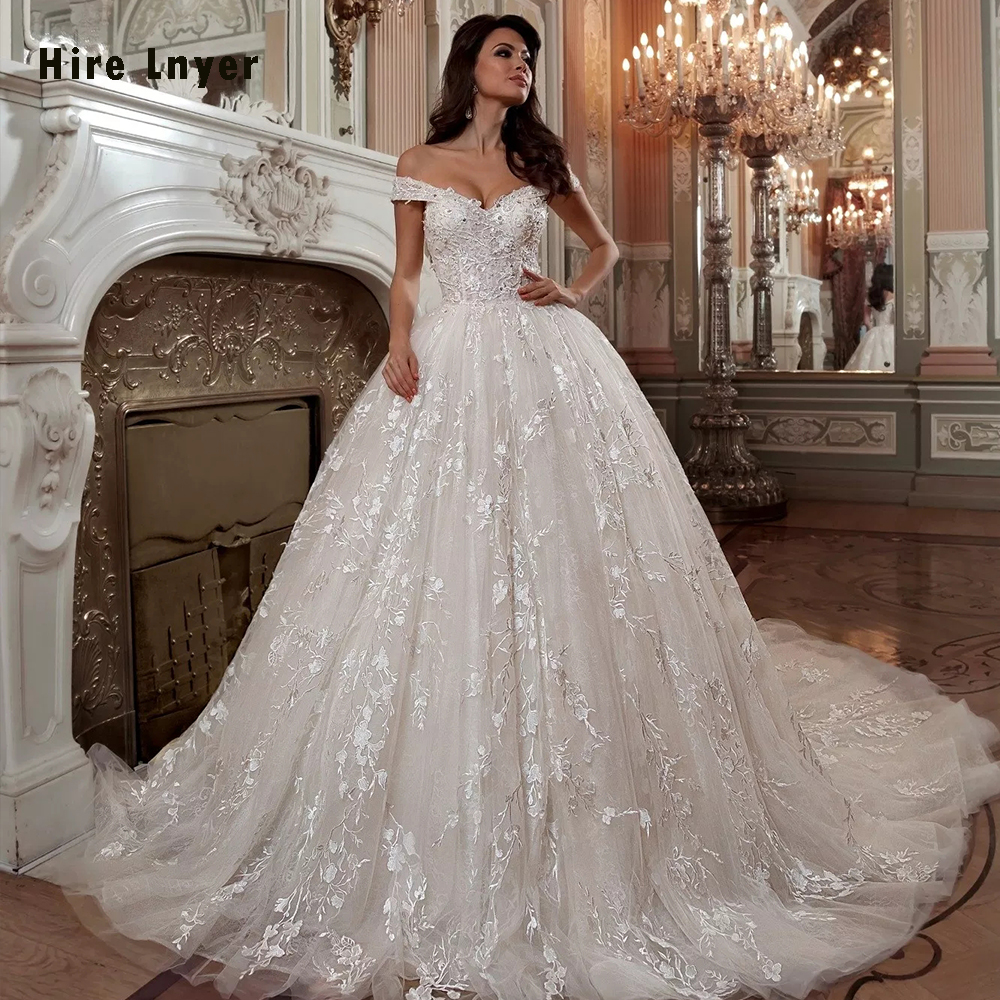 Off The Shoulder Short Sleeve Beading Crystal Sequins Luxury Ball Gown Wedding Dresses Plus Size 2019