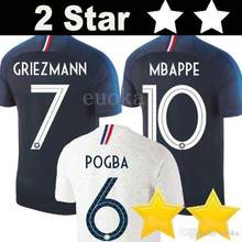 0a470b6b9 New 2018 France World Cup jerseys POGBA GRIEZMANN 2 star KANTE Mbappe  Football t shirts 18 19 France National Team home away Soc
