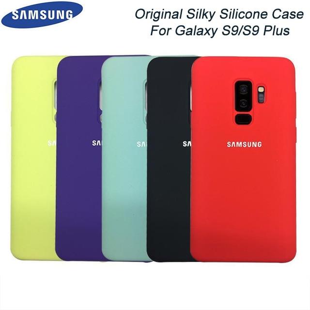 מקורי Samsung Galaxy S9/S9 בתוספת נוזל סיליקון מקרה משיי רך-מגע גימור חזרה מגן כיסוי עבור Samsung s9 + טלפון
