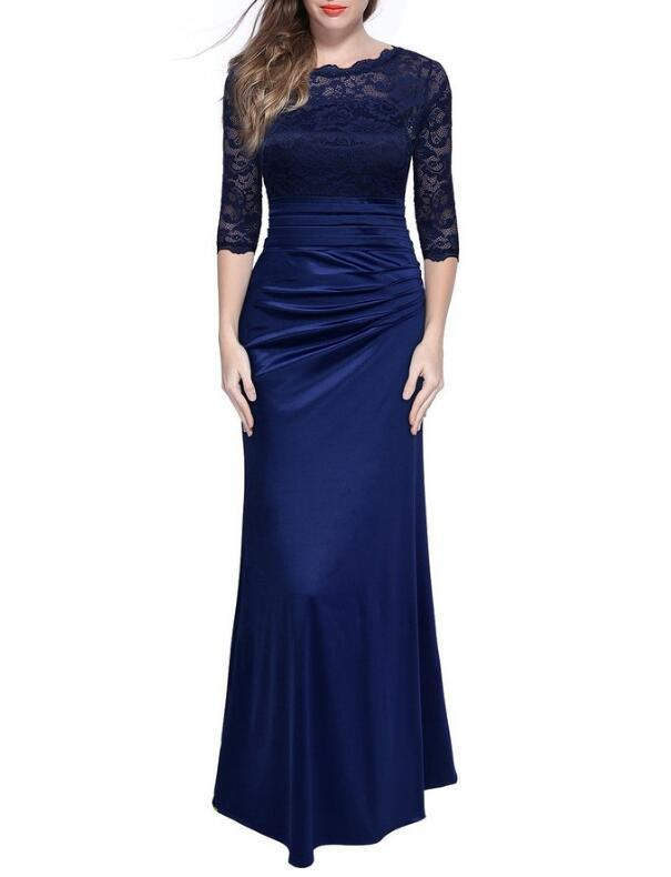 Backlake New Arrivals Satin Mother Of The Bride Dresses 2020  Lace Mid Sleeve With Zipper Back Design Sheath Dress Floor Length