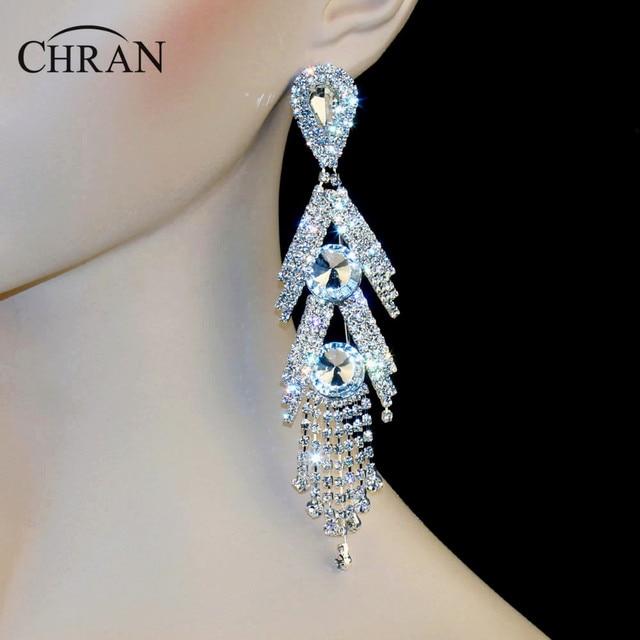 """Chran Luxury New Earing Wedding Bridal Rhinestone Crystal 5"""" Long Silver Gold Tone Dangle Chandelier Drop Earrings Jewelry DE105"""
